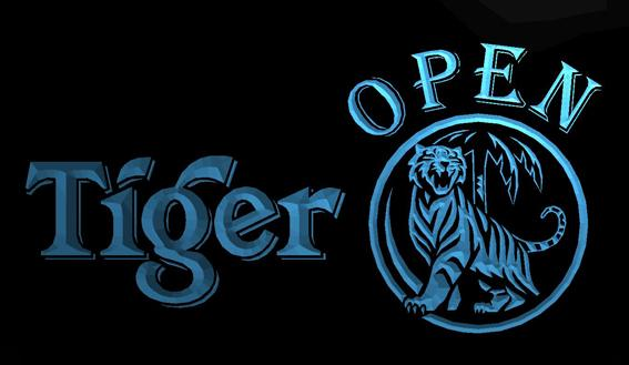 LS703-b- Tiger Beer OPEN Bar 3D LED Neon Light Sign Customize on Demand 8 colors to choose