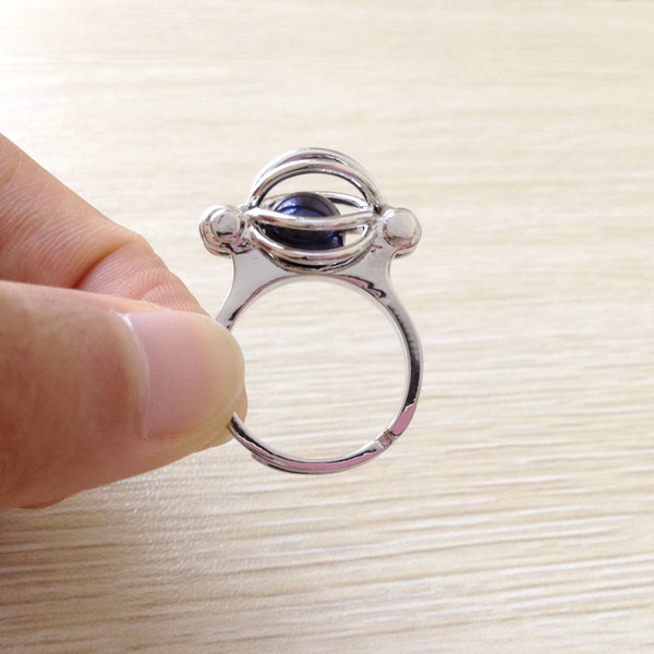 18KGP Pearl Gem Beads Cage Ring, Can Open And Hold Bead Adjustable Size Ring Jewelry