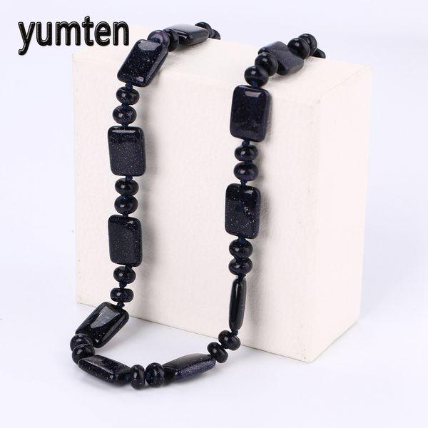 Yumten Blue Sandstone Necklace Power Square Natural Stone Crystal Women Jewelry Collier Feminino Bisuteria Acero Inoxidable Gift