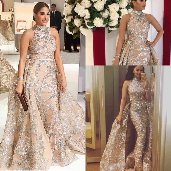 Vestidos de noche 2019 Yousef Aljasmi Dubai Lentejuelas árabes de encaje Vestidos de baile Falda larga Tren desmontable Champagne Sirena Vestido de fiesta Cuello alto