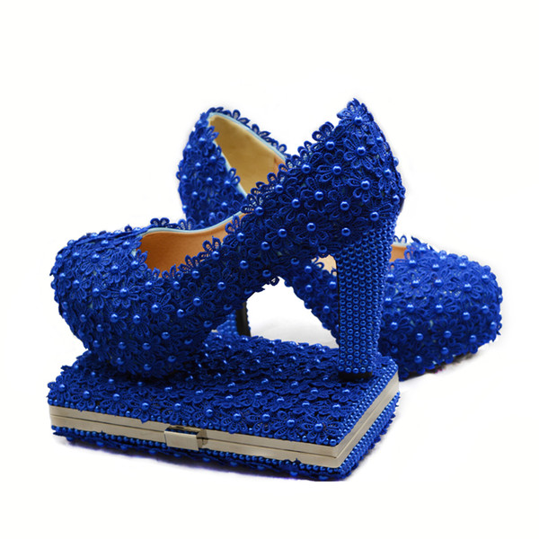 Blue Lace Bride Shoes Thick High Heel Wedding Dress Shoes with Matching Bag Cutomized Royal Birthday Ceremony Pumps with Purse