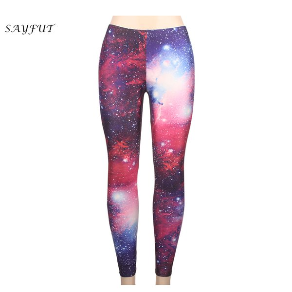 61d0b140c23e8 Wholesale New Women Sexy Universe Purple Printed Leggings Workout Pants  Elasticity Slim Exercise High Waist Super Stretch S-4XL