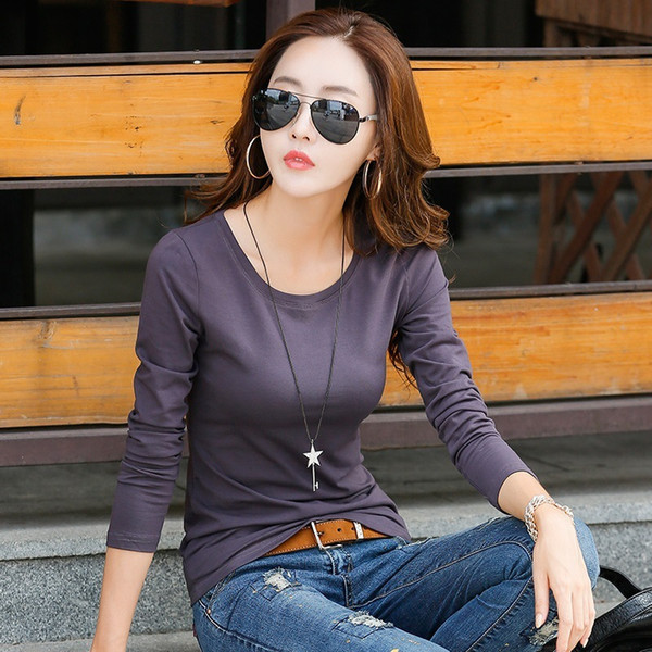 New T-shirts For Women Long Sleeve Cotton T Shirt Ladies Winter Top Tee Solid Poleras Mujer Casual Female T-shirt Camisetas S18100903