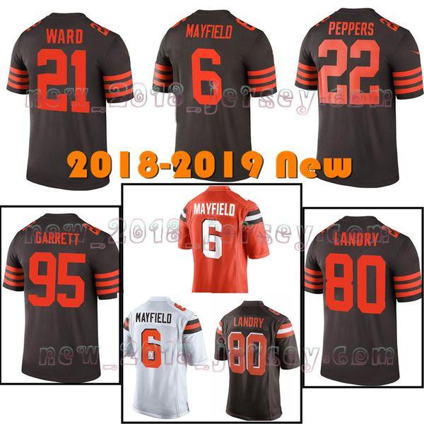Men's 6 baker mayfield 21 Denzel Ward Cleveland Browns jersey 95 Myles Garrett 80 Jarvis Landry 73 Thomas Jerseys