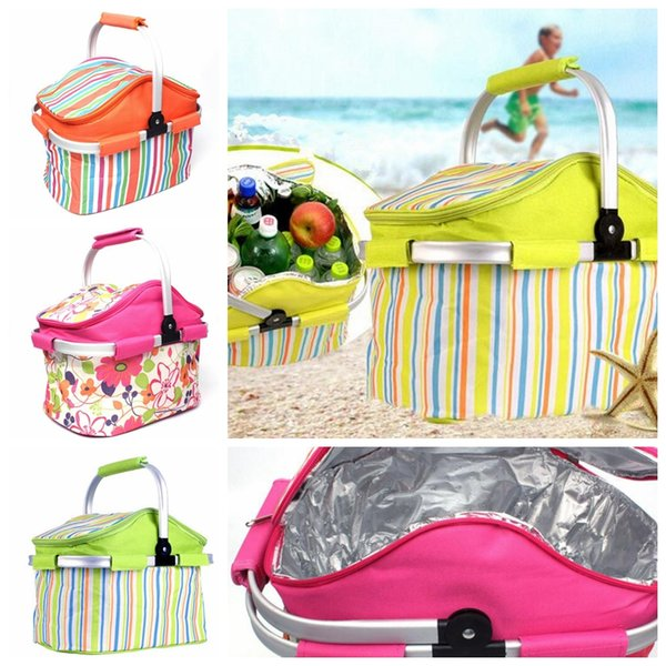Lunch Picnic Food Folding Insulated Cooler Camping Bag Box Traveling Fridge Drink Food Cooler Warmer Box Fruit Fresh- barbecue bag KKA5036