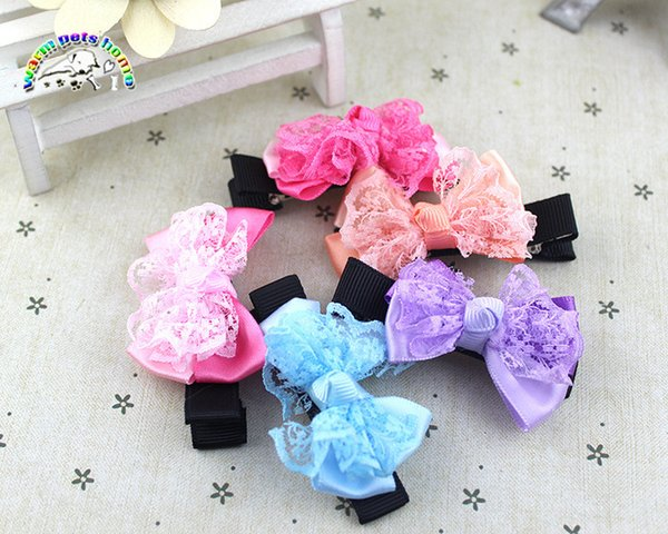 Mix Style 6pcs/lot Top Quality Lace Style dog bows pet hair bows for Festival dog hair accessories grooming products