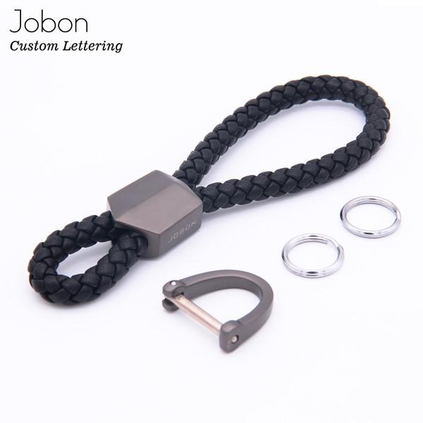 Jobon High Grade Men Genuine Leather Rope Woven KeyChain Classic Car Key Chain Handmade Best Gift Jewelry KeyChains Bag Pendant