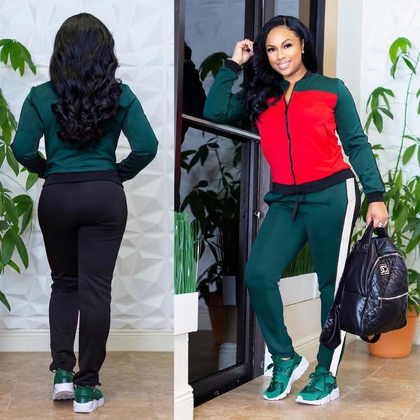 best selling brand designer women tracksuit jacket leggings 2 Piece set striped letter sweatshirt tights outfits outerwear coat pants sportswear 2165