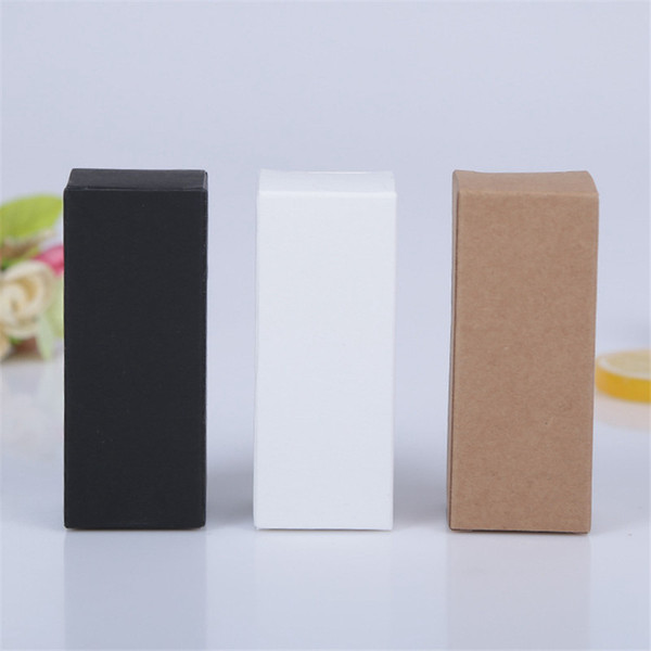 2.8x2.8x7cm Kraft Paper Cardboard Box Lipstick Cosmetic Perfume Bottle Essential Oil Packaging Box Black White DHL Fedex Fast Shipping