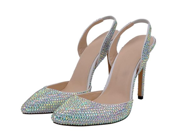 New style glass slipper and sexy single shoe women's wedding shoes significantly raise the pointy high heel diamond bridal shoes