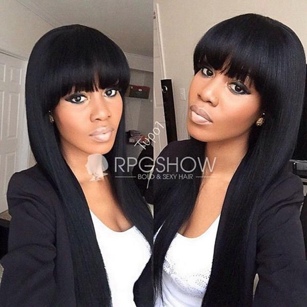 Sıcak Satış Doğal Yumuşak 1b # Siyah Ipeksi Düz Uzun Siyah Peruk Patlama Isıya Dayanıklı Tutkalsız Sentetik Tam Siyah Kadınlar için Peruk