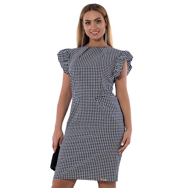 Fashion Women Plus Size Dress XXXL 4XL 5XL 6XL Plaid Checked Ruffled Sleeve Casual Dress Slim Elegant OL Ladies Dress Red /Black