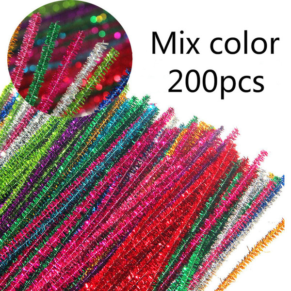 Craft Pipe Cleaners Bendy 200 PCS Tinsel Chenille Stems 6 MM x 30CM Furry Wire Twist Tie in Assorted Colours Perfect for DIY Craft Projects
