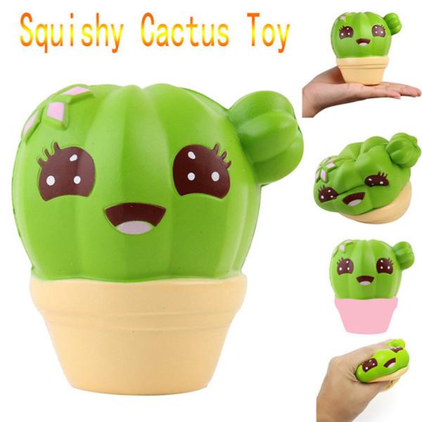 Squishy Jumbo Cactus Verde Lento Rising Brinquedos Encantos Do Telefone Aliviar O Stress Aliviar Kawaii Bonito Casa Decorações Presente para As Crianças
