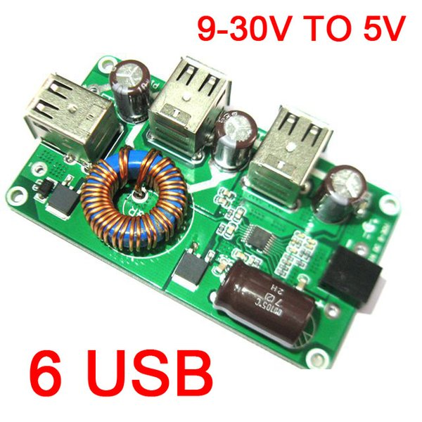 Freeshipping DC-DC Buck Converter 12V 24V to 5V 12A 6 USB Voltage Step Down Mobile Phone Charger POWER