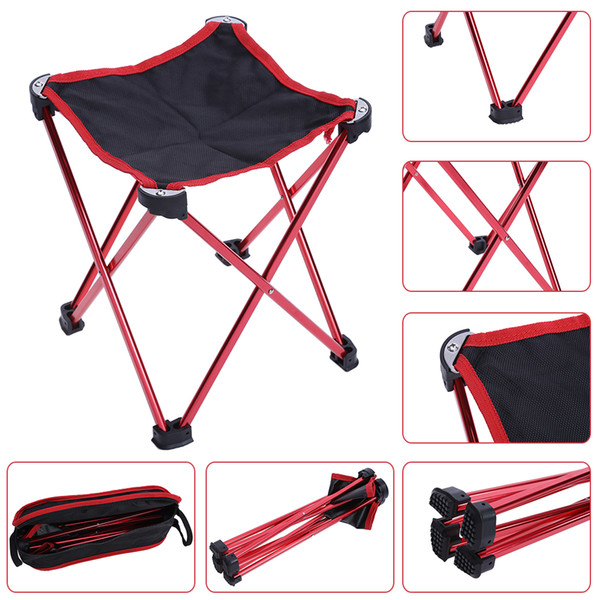 stool 1pcs Aluminum Alloy Folding Chair Seat Stool Picnic Camping Hiking BBQ Beach Backpack Fishing Chairs with Carry Bag