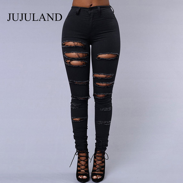 Skinny Jeans Woman 2018 High Waist Casual Black Ripped Jeans For Women Denim Pencil Pants Push Up Woman White Sexy Clothes