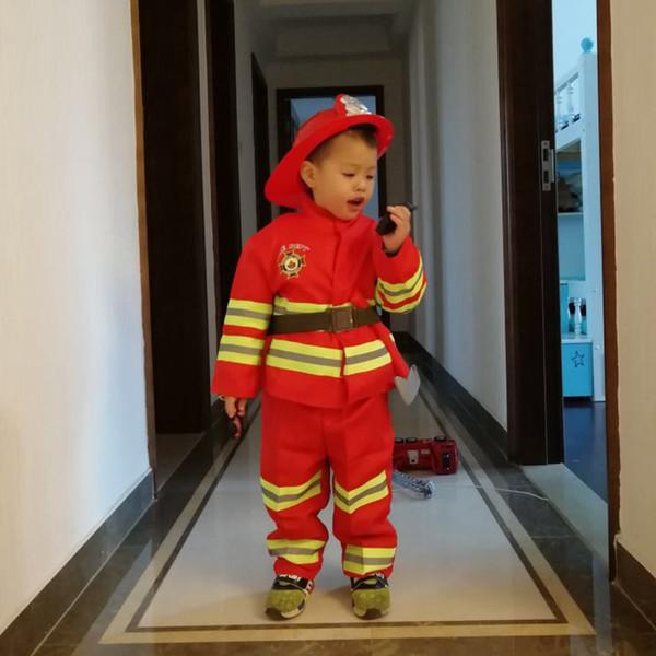 Kinderkleidung Set Feuerwehrmann Kostüm für Kinder Baby Mädchen Halloween Party Wear Cosplay Feuerwehrmann Kind Jungen Jacken Kleinkinder Y18102408