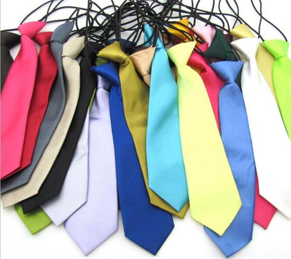 25 цветов мальчик школа свадьба эластичные галстуки шеи галстуки-твердые простые цвета ребенок школа галстук мальчик Y193