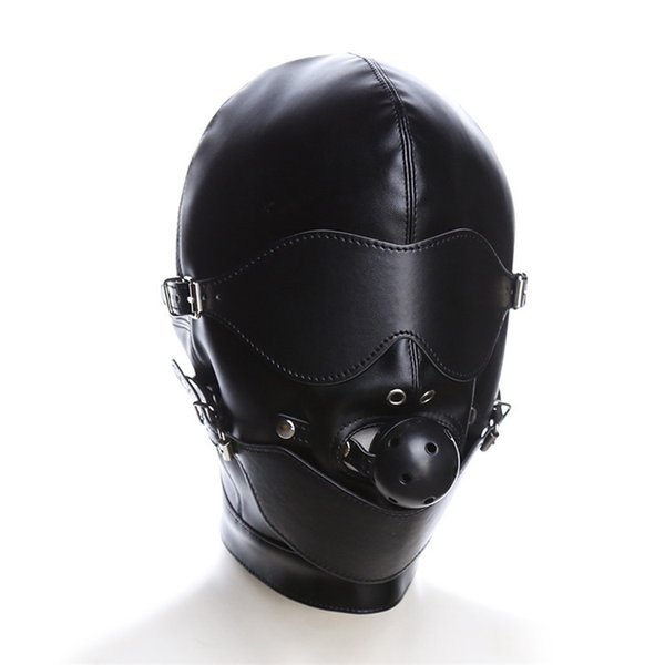 Bondage Restraint Hood Mask Sex Toys Headgear With Mouth Ball Gag BDSM Erotic PU Leather Sex Hood For Adult Games Sex SM Mask