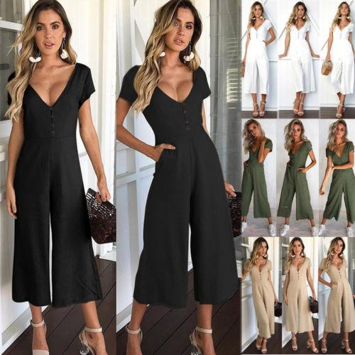 Newest Summer Casual Women V Neck Loose Playsuit Party Ladies Romper Short Sleeve Long Jumpsuit Women's Clothing