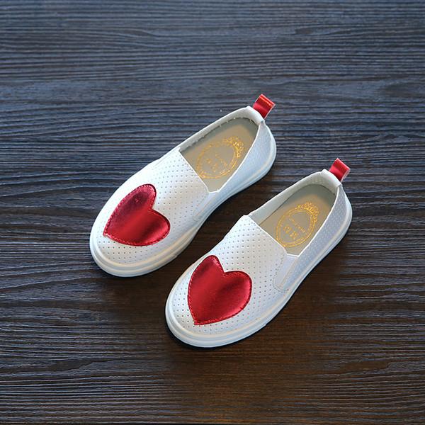 2018 Nuevas zapatillas de deporte Zapatos de los niños Zapatillas de deporte de la muchacha Rojo Verde Floral Zapato plano transpirable Infant Girl Hollow Casual Shoes