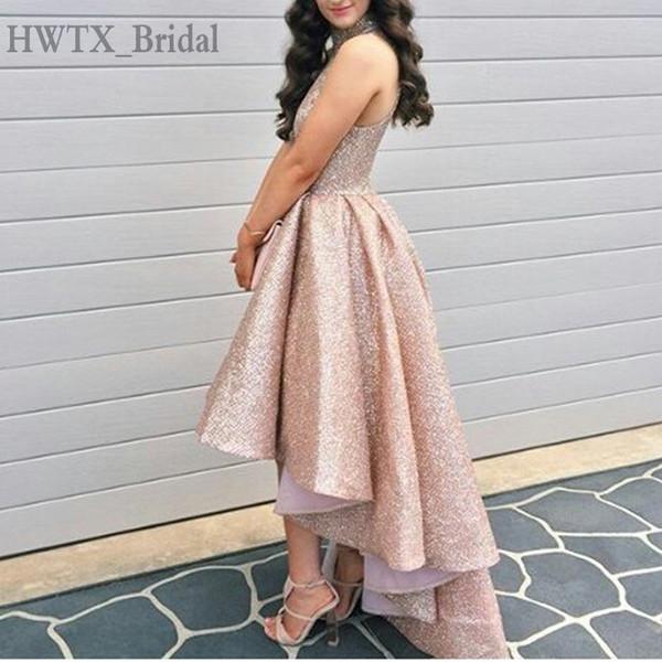 Acheter Sparkly Rose Gold Sequined Mère De La Robes De Mariée Col Haut Plus La Taille Salut Arabe élégant 2018 Prom Robes De Soirée Formelle De 2312