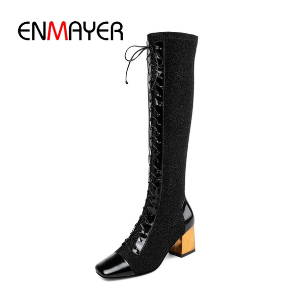 edafd3d9b32 ENMAYER 2018 New Arrival top quality women square toe lace up knee high  boots lady color