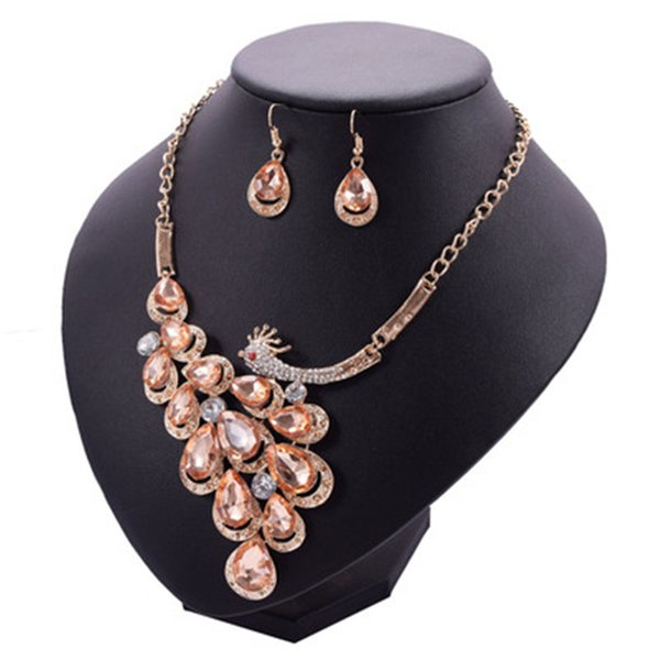 Bulk Lots 2 Colors Peacock Crystal Pendants Jewelry Set Choker Earrings Studs Wedding Jewelry Sets Mothers Day Gifts Wedding Decorations