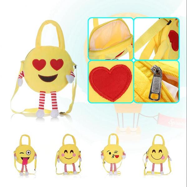 Cute Emoji Kids Plush Backpacks Toy Mini School Bag Children's Gifts Kindergarten Boy Girl Baby Student Bags 5Styles 12pcs OOA4496