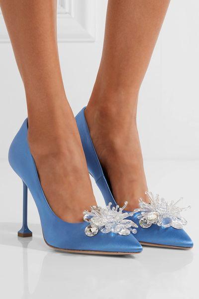 Neue marke Luxus kristallpumpen seltsame stil ferse damen elegante fleck dünne high heels himmelblau und weiß party hochzeit schuhe