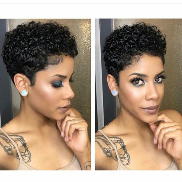 Nuove parrucche ricci corti ricci crespi capelli brasiliani morbidi capelli africani Ameri simulazione capelli ricci crespi per le donne
