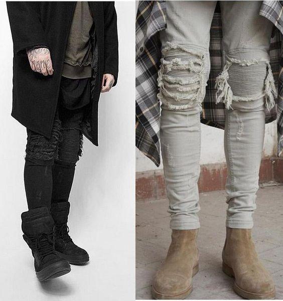 Stretch Slim Broken Knee Pants Metrosexual Slim Retro Old Jeans Pies de lápiz Skinny Trousers Man's Tide Brand Pants