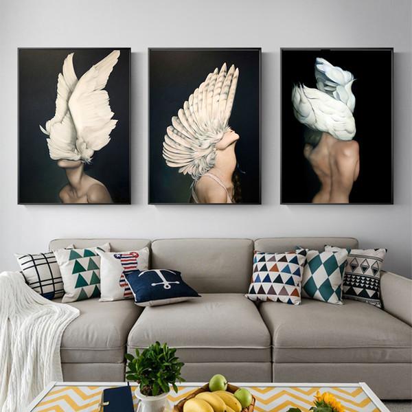 Großhandel Schmetterling Feder Mädchen Ölgemälde Erwachen Leinwand Poster  Drucken Nordic Dekoration Wandbild Für Wohnzimmer Modern Von Cyon2017,  $14.8 ...