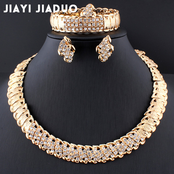 jiayijiaduo African Wedding Jewelry Dubai Gold color Jewelry Sets Romantic Color Design Jewelry Sets Necklace