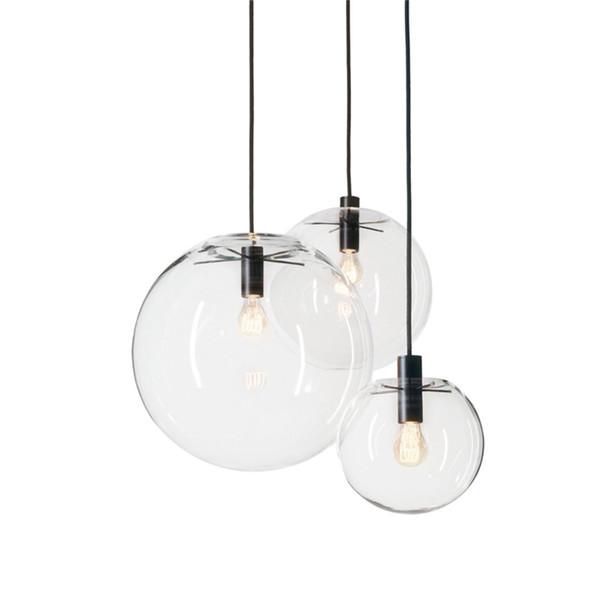 Designer Glass Chandelier Lights E27 110V 220V 15cm 20cm 25cm 30cm Circular Glass Lampshade Loft Pendant Lamps Modern Lighting Fixture