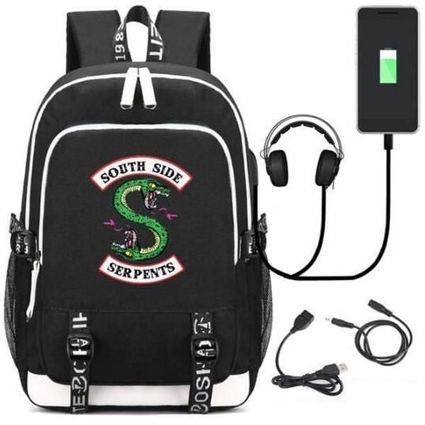 2018 New Riverdale Southside Serpents Mochilas Mochila escolar Puerto de carga USB Cerradura Auriculares Viajes Bolsa de estudiantes de la escuela