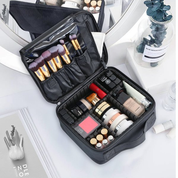 Large Cosmetic Bag Women Travel Waterproof Double Layer Organizer Toiletry Beauty Brushes Professional  Bag