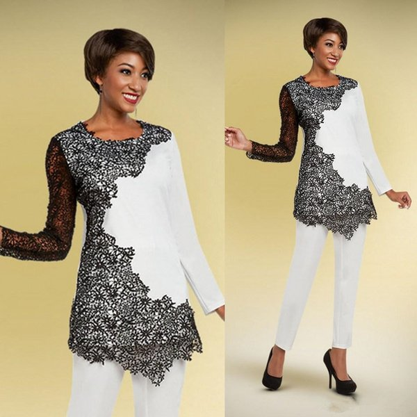 Chic Black And White Pants Suits For Mother Of The Bride Jewel Neck long sleeve Wedding Guest Gowns Appliqued Mother of groom dress