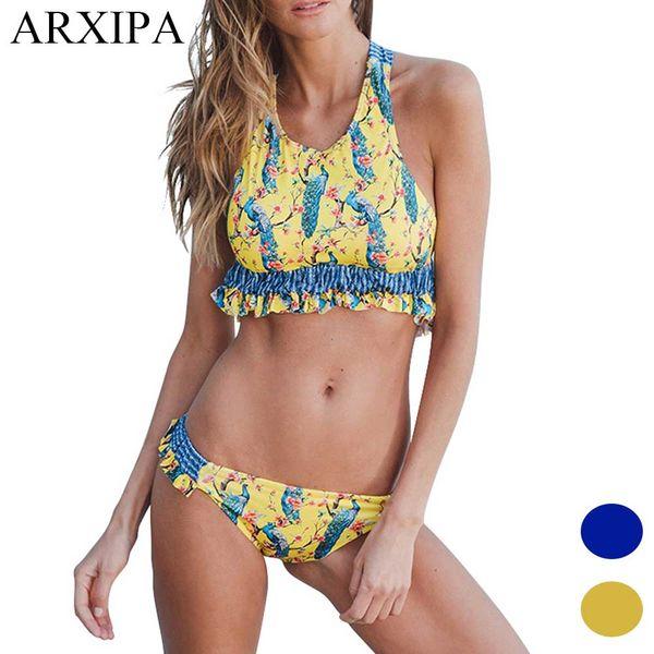 ARXIPA Women 2018 Summer High Neck Bikini Padded Blue Rose Crop Swimsuit Ruffle Peacock Brazilian Swimwear Criss Cross Bathing Suit Bandage