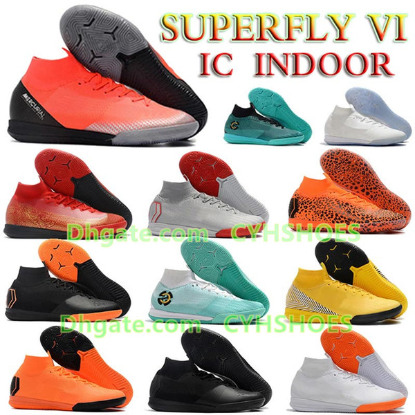 Mercurial Superfly VI 360 CR7 Elite IC Soccer Shoes New Mens Neymar JR ACC Indoor football boots Cristiano Ronaldo 12 Sock Soccer Cleats