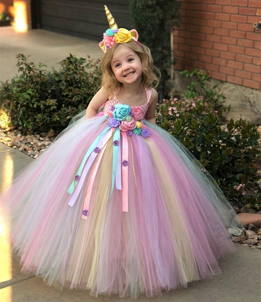 Flower Girls Unicorn Tutu Dress Pastel Rainbow Princess Girls Birthday Party Dress Children Kids Halloween Unicorn Costume 1-14Y