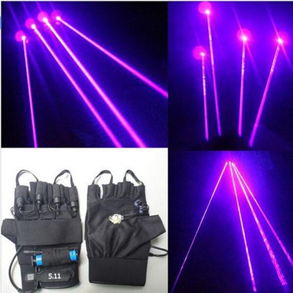 Nuovo arrivo 2 pezzi guanti laser viola danza spettacolo di luce con 4 pezzi laser e luce a LED per DJ club / party / bar