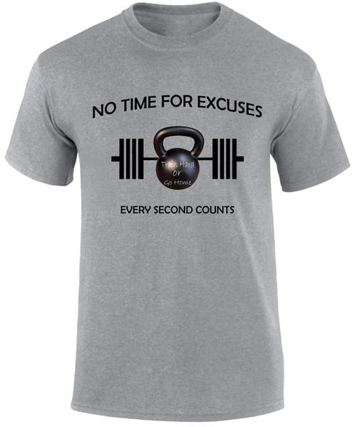 Bahaneler Için Hiçbir Zaman Barbell Kettlebells Gym Fitness Crossfit Sloganı Erkekler T gömlek Komik ücretsiz kargo Unisex Rahat tee hediye