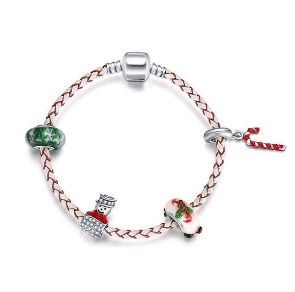 Atacado Barato Presente de Natal DIY Floco De Neve de Vidro Do Grânulo De Couro Charm Bracelet para Mulheres Meninas Pandora Jóias