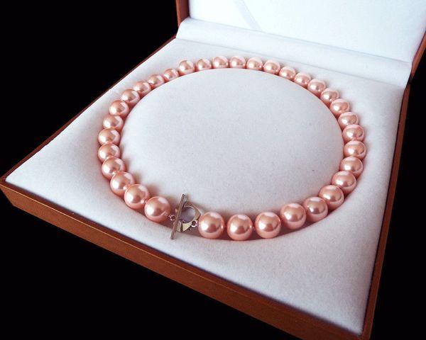 Rare Enorme 12mm Genuino Mar Del Sur Rosa Shell Collar de Perlas Corchete Corazón 18 ''