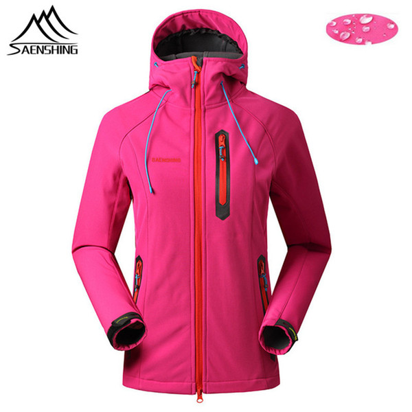 SAENSHING Fleece Softshell Jacket Women Outdoor Waterproof Windproof Camping Jacket Female Hooded Hiking Fishing Clothing S-XXL 2019