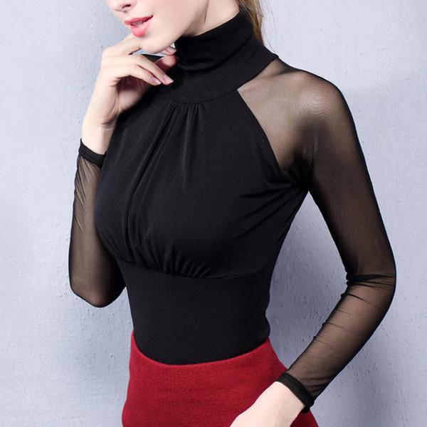 Women Lace Mesh Blouse Shirt Sexy See Through Turtleneck Long Sleeve Blouses 2018 Office Ladies Elastic Slim Blouses Tops Blusas