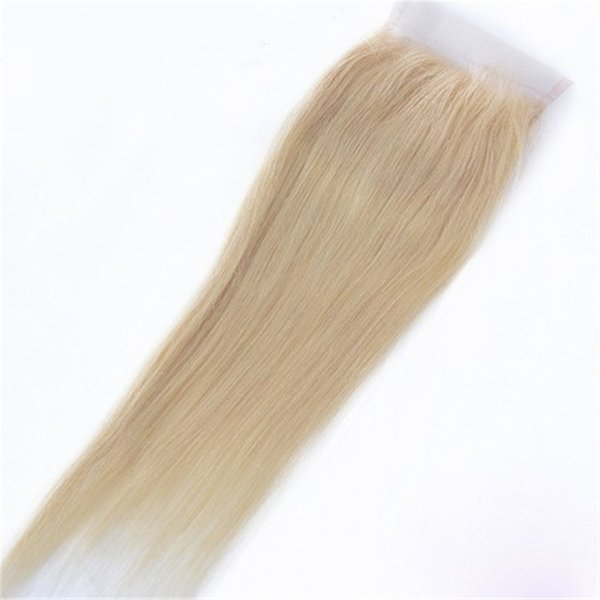 Blonde Brazilian Hair Closure #613 Straight Lace Closure Middle Three Free Part 4x4 Swiss Lace With Baby Hair Ping