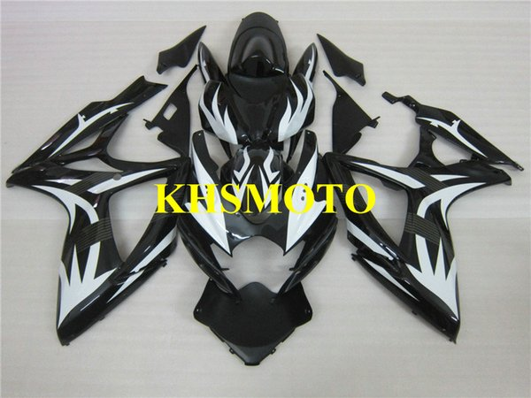 Kit carenatura iniezione per SUZUKI GSXR600 750 K6 06 07 GSXR 600 GSXR 750 2006 2007 bianco nero Set carenature + Regali SB41